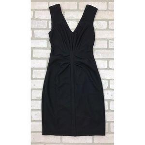 Express Black Ribbed Sleeveless V-Neck Dress